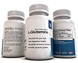 L-Glutamine by GUT LAB - 60 capsules x 500mg - 1 Month Supply - 100% Pure and Free Form - High Absorption - Helps to Heal the Gut Wall, Strengthen the Intestinal Barrier, Modulate Immune Function, and Promote Muscle Growth