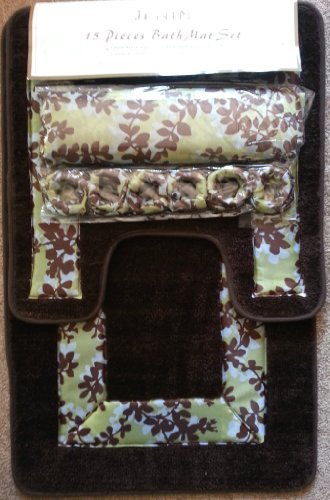 Awesome Brown And Green Leaf 15 Piece Bathroom Set: 2 Rugs/mats,