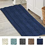 Turquoize Navy Blue Bathroom Rugs Extra Large Bathroom Mat Non-Slip Soft High Absorbent Bath Rugs Navy Bathroom Runner Rug 47 Inch Bath Mat Machine Washable, Navy …
