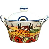 CERAMICHE PARRINI - Italian Ceramic Art Sugar - Cheese Bowl Pottery Decorated Landscape Tuscan Poppies Hand Painted Made in ITALY