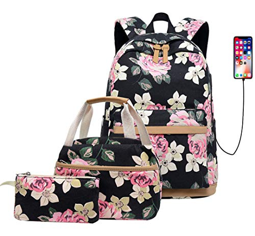 KaixinRoom 3 Pcs Backpack Set Teen Girls Floral Print School Bags USB Laptop Daypack Portable Lunch Bags Purse (Black)