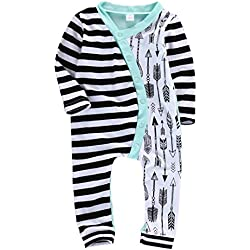 Ma&Baby Boys Girls Pajamas Half Striped Half Arrows Romper Bodysuit Outfit (0-6 Months)