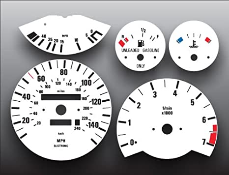 1984-1991 E30 BMW 3 Series M3 325 325e 325i White Face Gauges