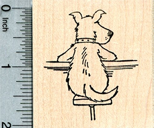 Dog at Tavern Rubber Stamp, on Bar Stool, Ale House Series