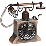 DecoBREEZE Brushed Copper Old Fashioned Hand Crank Telephone Figurine Fan Single-Speed Electric Circulating Fan
