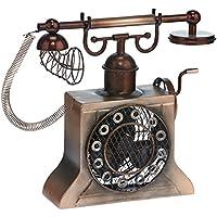 DecoBREEZE Table Fan Single-Speed Electric Circulating Fan, Hand-Crank Telephone Figurine Fan
