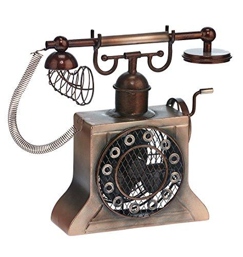 Single-Speed Electric Circulating Fan, Hand-Crank Telephone Figurine Fan (Anywhere Telephone Table)