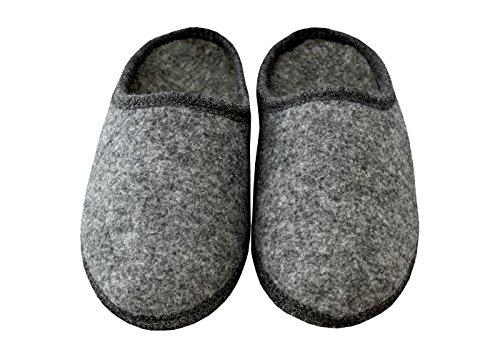BeComfy Pantoufles de feutre semelle antidérapante pantoufles mules gris Modèle FU01 (43+Box)