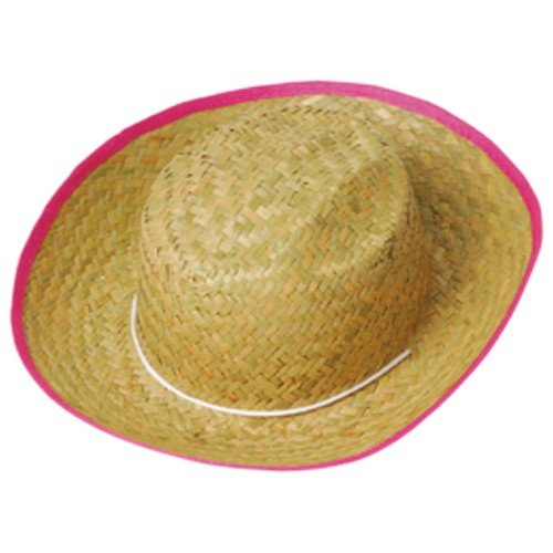 CHILDREN'S WOVEN COWGIRL HAT WITH PINK TRIM - VALUE PRICED OPTION, SOLD BY 34 PIECES