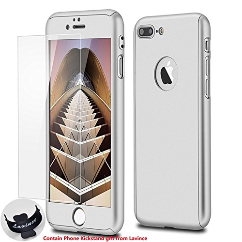 Phone 7 Plus Case,Lavince Full Body Protection Hard Slim Cover[Dual Layer]with Tempered Glass Screen Protector for iPhone 7 Plus 5.5inch(Silver)