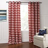 Cheap IYUEGO Modern Classic Red And White Plaid Jacquard Eco-friendly Grommet Top Lining Blackout Curtains Draperies With Multi Size Custom 100″ W x 102″ L (One Panel)