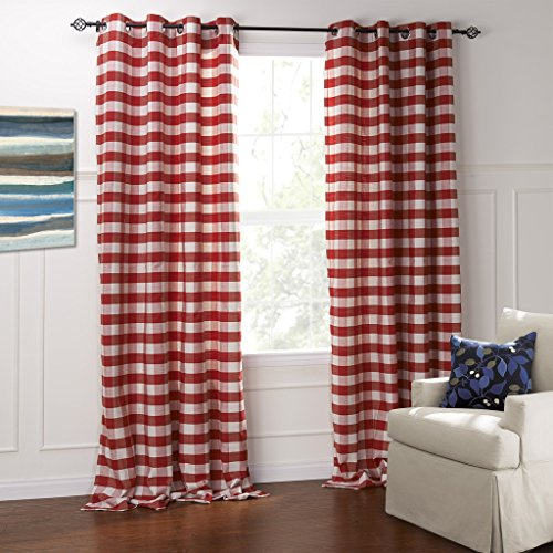 (IYUEGO Modern Classic Red and White Plaid Jacquard Eco-Friendly Grommet Top Lining Blackout Curtains Draperies with Multi Size Custom 42