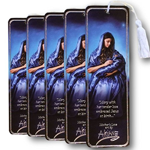 5 Bookmark Set, Mother's Love, the Akiane Kramarik painting of Virgin Mary, the mother Jesus, from the Akiane Kramarik painting of baby Jesus with Mother Mary