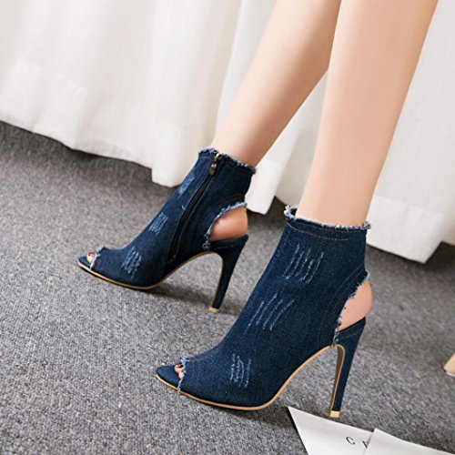 Demin Blue Solid Creazrise Dark Peep Women's Toe Heel Chunky Stacked 8 Blue Ankle Slouchy Bootie g1B5q8
