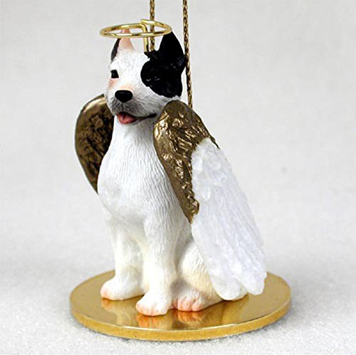 (Pit Bull Terrier Dog Figurine Angel Statue Hand Painted White)