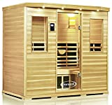 ClearLight Jacuzzi IS-5-GS Glass Premier Five Person Sauna Basewood - Infrared Fusion Power Carbon-Ceramic Heaters, Near Zero EMF - Chromotherapy Lights, Bluetooth AUX MP3 Audio Inputs