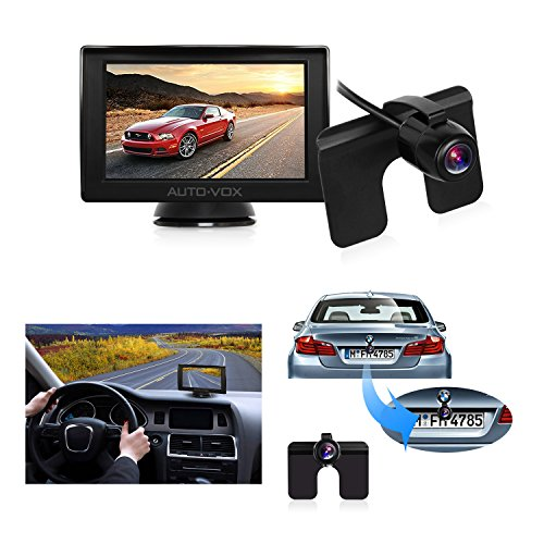 "Auto-Vox M1 4.3"" TFT LCD Backup Camera Kit Parking Assistance System with Night Vision, Easy Installation HD Rear View Back Up Monitor Waterproof License Plate Reverse Camera For Trucks,Ford,Toyota (Rear Installation)"