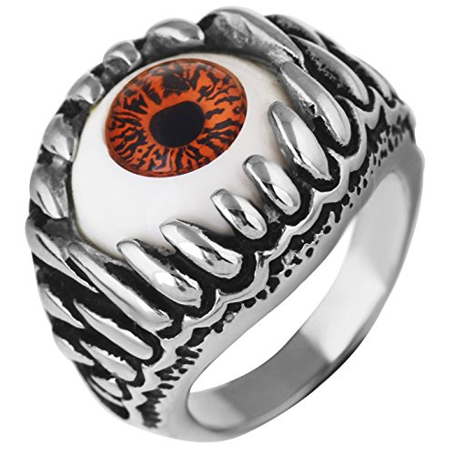 Sirius Men's Stainless Steel Ring Silver Black Red White Skull Dragon Claw Evil Devil Eye Gothic Biker Size 12