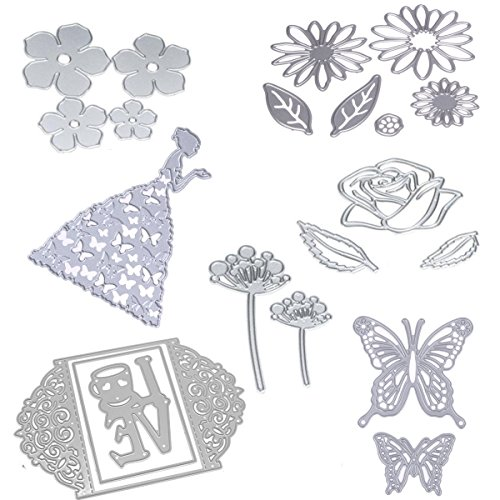 Dies Cut Cutting Die for Card Making Scrapbooking Heart Leaf Rose Flowers Beauty Lotus Root Girls Betterfly Love Stencils 3D Love Photo Frame Embossing Paper Cards for DIY Photo Album(Set 6) - Design Chipboard Picture Frame