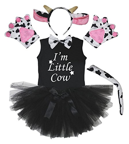 Petitebella Headband Bowtie Tail Gloves Shirt Skirt 6pc Girl Costume (Black Milk Cow, 6-8 Yr) -