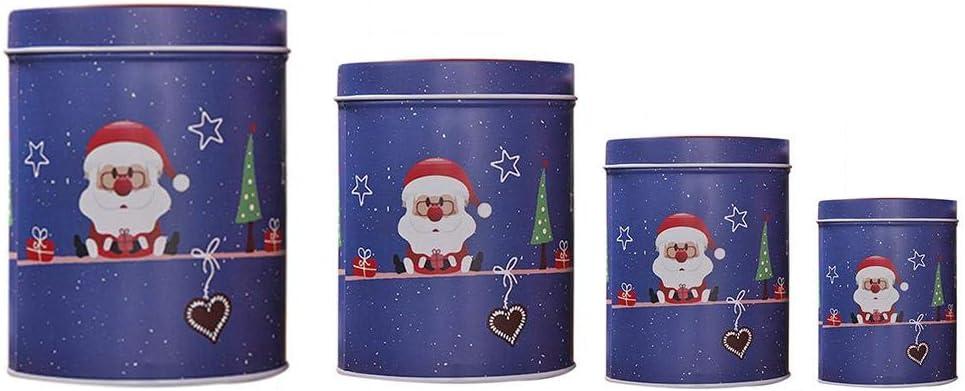 Prosperveil - Caja de Lata vacía de 4 Unidades de latas de Metal Redondas para Caramelos y Chocolate con Tapa para decoración de Fiestas de Navidad: Amazon.es: Hogar