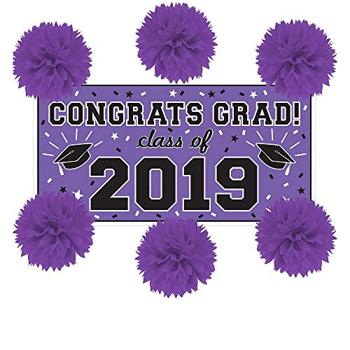 Party City Purple Congrats Grad 2019 Graduation Wall Decorating Supplies with Banner and Tissue Paper Pom Poms]()