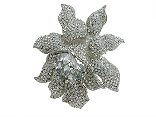 Silver Tone Brooch (TTjewelry Classic Crystal Rhinestone Large Flowers Orchid Brooch Pins Woman Jewelry B10461600 (White Silver-tone))