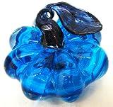 NEW Hand Blown Glass Blue Harvest Pumpkin Paperweight with Dark Blue Curled Stem