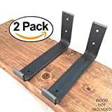 2 Pack – 7.25″L x 4″H Hook Brackets, Handcrafted Forged Rustic Salvaged Metal Shelf Modern decorative bracket for shelve Storage Strap Angle lip. For Sale