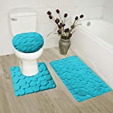 Fancy Collection 3 Pc Bath Rug Set Memory Foam Non-Slip Bathroom Rug Contour, Mat And Toilet Lid Cover Solid Turquoise New