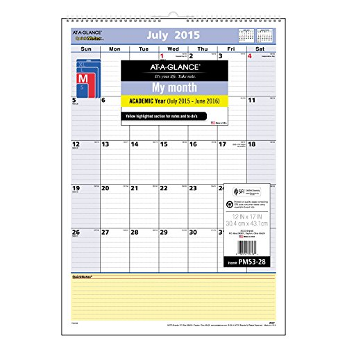 AT-A-GLANCE Monthly Wall Calendar, QuickNotes Design, Academic Year, 12 Months, July 2015-June 2016, 12 x 17 Inch Page Size (PM53-28) (Calendar Wall Academic 2015 July)