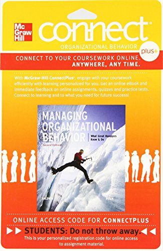 Connect Managing Organizational Behavior 1-Semester Access Card For Baldwin 2e