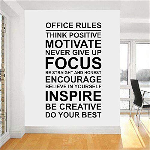 Office Rules Poster Wall Decal Work Motivation Quote Sign Think Positive Focus Teamwork Vinyl Sticker Art Business Decor h1 42x71cm