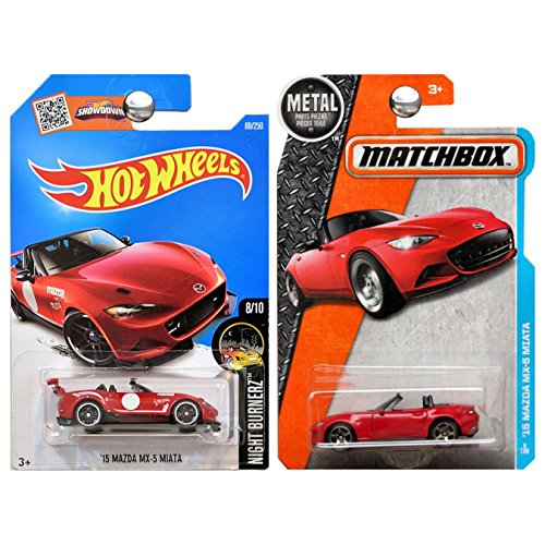 Hot Wheels and Matchbox 2016 Mazda Miata MX5 MX-5 Set of 2 in Red WITH PROTECTORS (Best Wheels For Mx5)