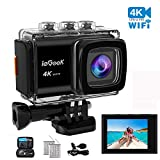 ieGeek Action Camera 4K 20MP WiFi Sports Cam Ultra HD Underwater Camera DV Camcorder EIS Image Stabilizer 30M Waterproof 170° Wide-Angle with Carry Case/2 Batteries/External Microphone/Accessory Kit