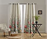 MYSKY HOME Floral Design Print Grommet top Thermal Insulated Faux Linen Room Darkening Curtains, 52 x 84 Inch, Red and Pink, 1 Panel Review