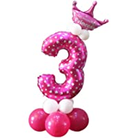 Children's Day Birthday Party Decoration Cute Crown Column Balloon Number 3 Pink