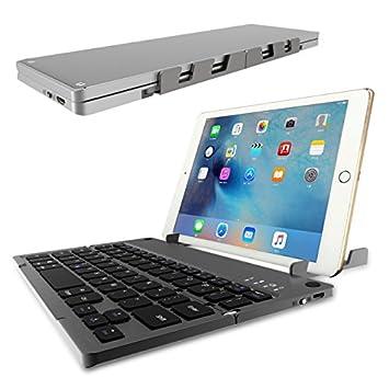 Teclado Bluetooth, ICOUVA Mini Universal Teclado inalámbrico portátil plegable / magnético recargable ultra delgado (QWERTY) con panel táctil para iOS, ...