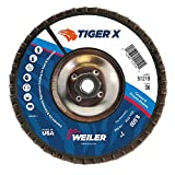 Weiler 51219 Tiger X Flap Disc, Ceramic and Zirconia Alumina, Angled, Phenolic Backing, 36 Grit, 7'', 5/8-11'' Arbor Hole (Pack of 10)