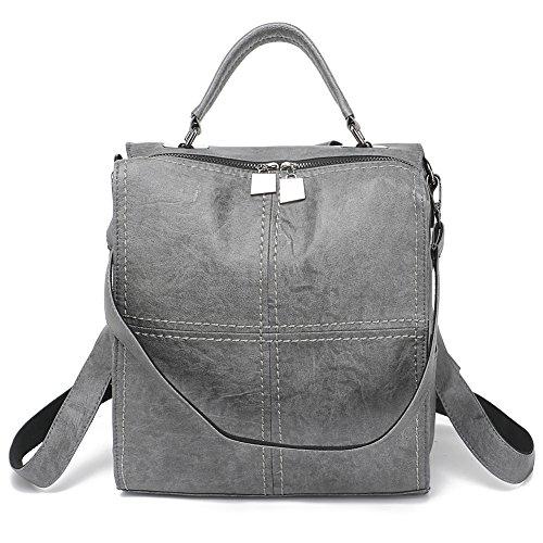 Leparvi Women Backpack Purse Leather Shoulder Bag Square Rucksack Vintage (Square Purse)