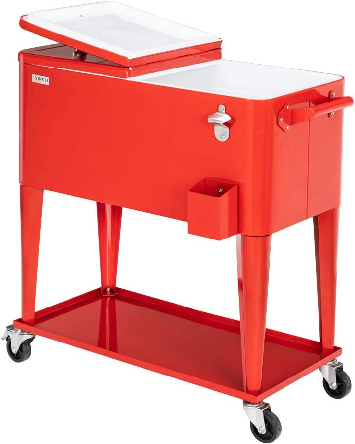 VINGLI 80 Quart Rolling Cart on Wheels, Portable Bar Drink Cooler , Beverage for Patio Pool Party , Ice Chest with Shelf,Bottle Opener,Water Pipe and Cover (Red)