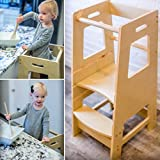 KidzWerks Child Standing Tower - Child Kitchen Step Stool with Adjustable Standing Platform - Wooden Montessori Standing Tower - Kid's Step Stool