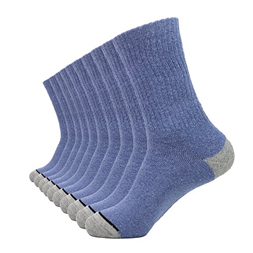 Enerwear 10P Pack Men's Cotton Moisture Wicking Extra Heavy Cushion Crew Socks (10-13/shoe size 6-12, Jean ()