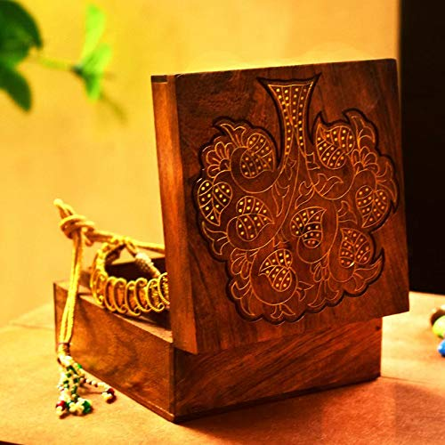 Inlaid Wooden Box - Hashcart Indian Artisan, Handcrafted Decorative Wooden Box/Jewelry Storage Organizer/Trinket Jewelry Box with Traditional Design and Brass Inlay Work
