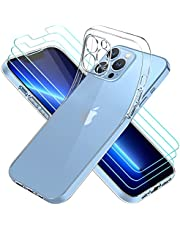 حافظة ايفولر متوافقة مع آي فون 6.7 بوصة 13 برو ماكس، مع 3 وحدات واقي شاشة من الزجاج المقسى، غطاء شفاف ناعم من السيليكون TPU
