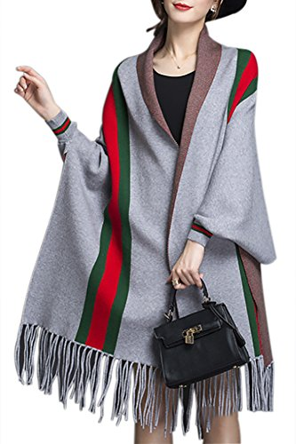 QZUnique Women's Soft Cape Shawl Cardigan Wrap Poncho Lines with Fringe Trims