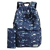 Mocha weir JIAYBL Ladies Backpack Laptop Backpack College Shoulders Bags Children School Book Bags Girls Travel Canvas Backpack (Blue House)
