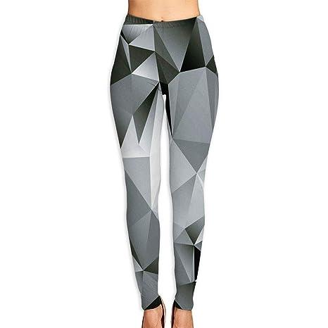 cc66f85de1 KUAAAKE Yoga Pants Fractal Monochrome Composition Triangles Polygonal  Effect Contemporary Futuristic Holiday Womens Fitness Power Flex