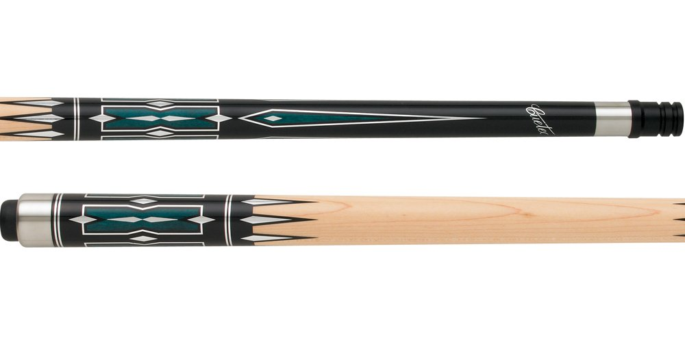 Black with Teal Stained and Metal Points Cue Weight: 20.0 Oz.