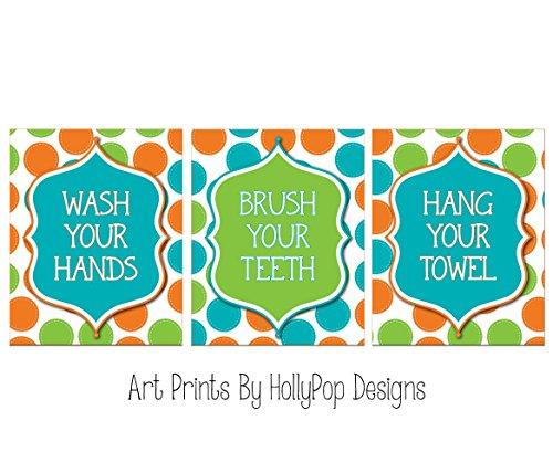 - Kids bathroom decor - Wash your hands brush your teeth - Bathroom manners art prints - Colorful bathroom decor - SET OF 3 UNFRAMED ART PRINTS #0727